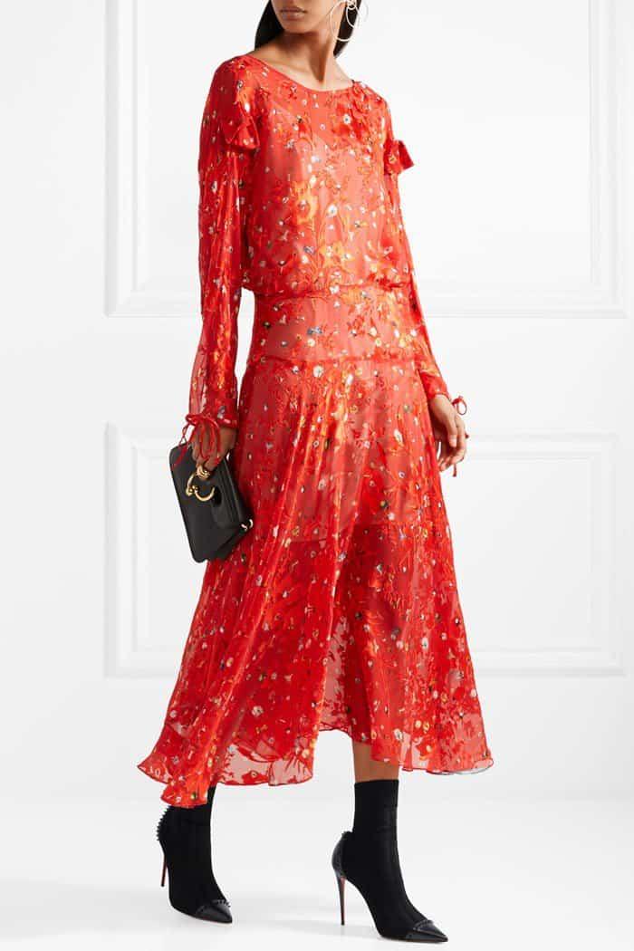Model wearing a printed devoré silk-chiffon midi 'Andrea' dress from Preen by Thornton Bregazzi