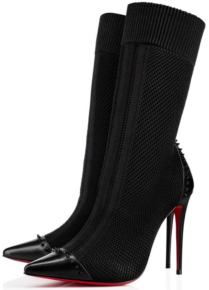 Christian Louboutin Dovi Dova 100 studded leather-trimmed stretch-knit sock boots