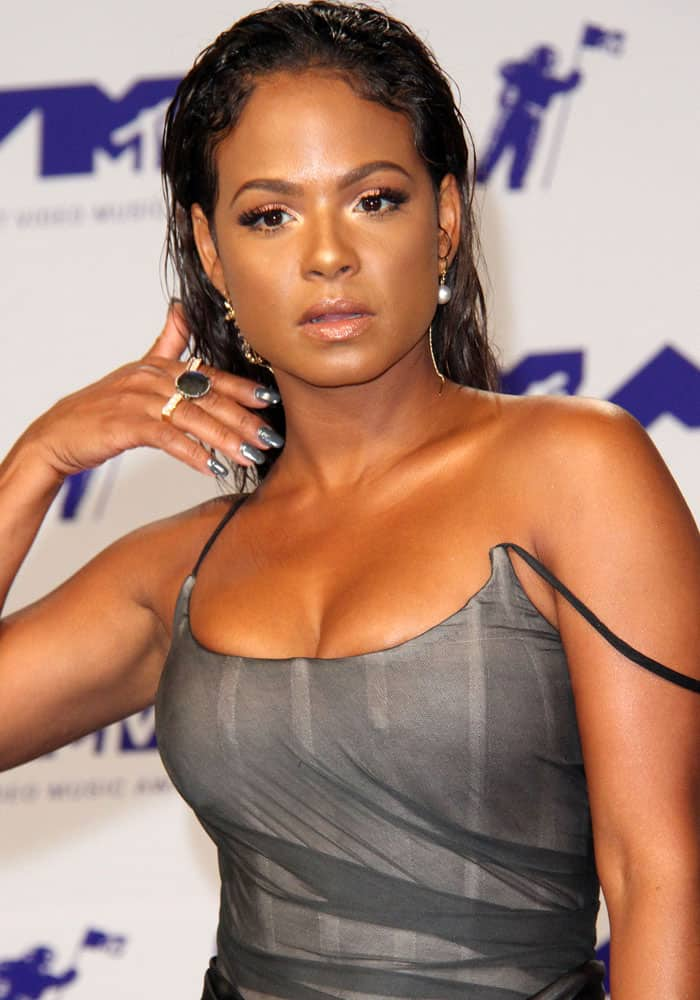 Christina Milian at the 2017 MTV Video Music Awards (VMAs) held at The Forum in Los Angeles on August 27, 2017