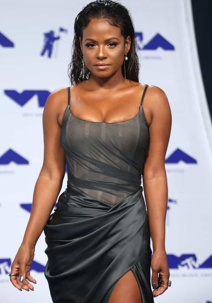 Christina showed off her curves in a shapely bodice