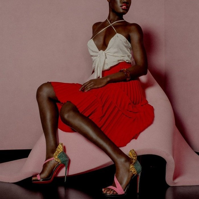 'Colankle' Ruffle Red Sole Sandals in Sumptuous Material Mix