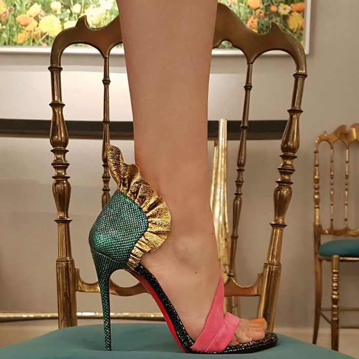 Colankle Ruffle Red Sole Sandals in Sumptuous Material Mix