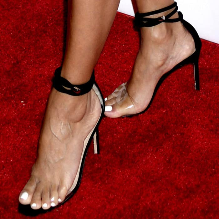 "Eva takes a stylish step in the Manolo Blahnik ""Estro"" sandals"