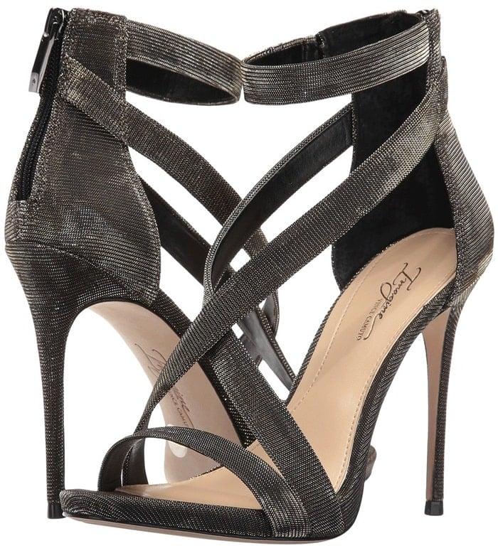 Parading crisscross straps grant timeless glamour to a sleek sandal