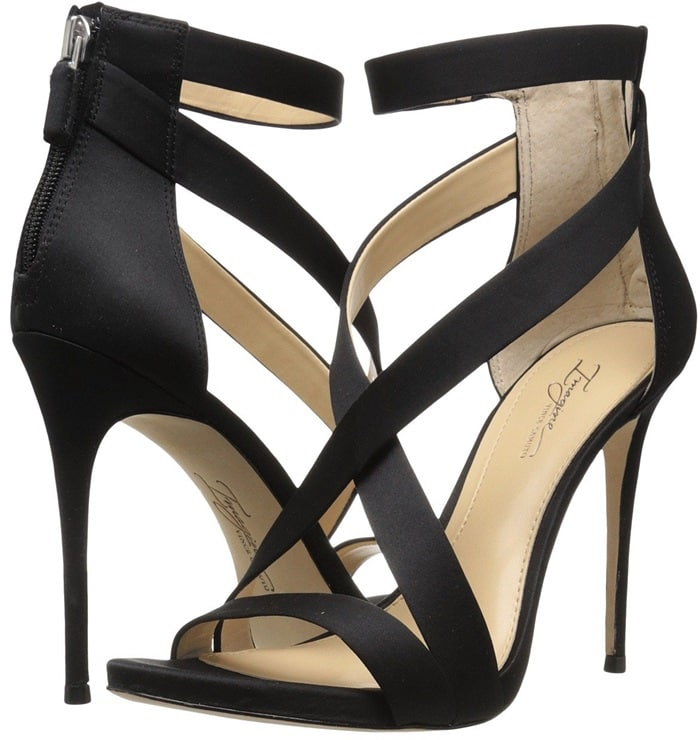 A toe and stretchy ankle strap add security to the sexy svelte heel