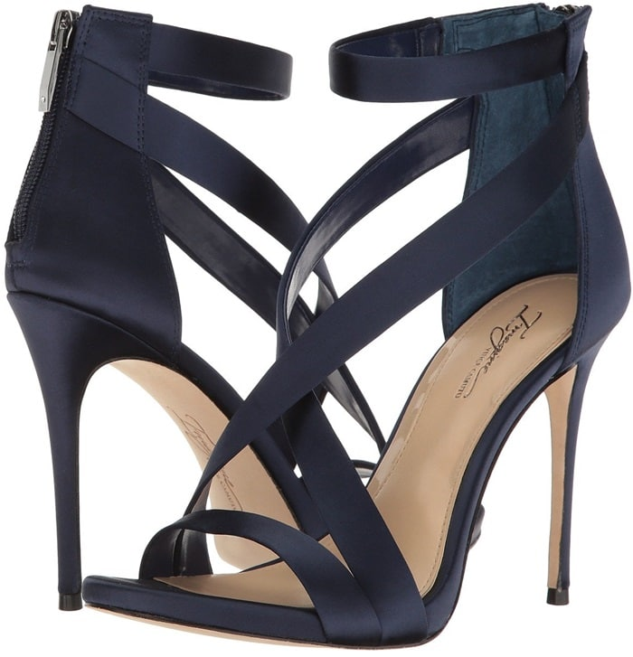 An alluring strappy sandal is given a daring lift by an ultra-slender stiletto heel.