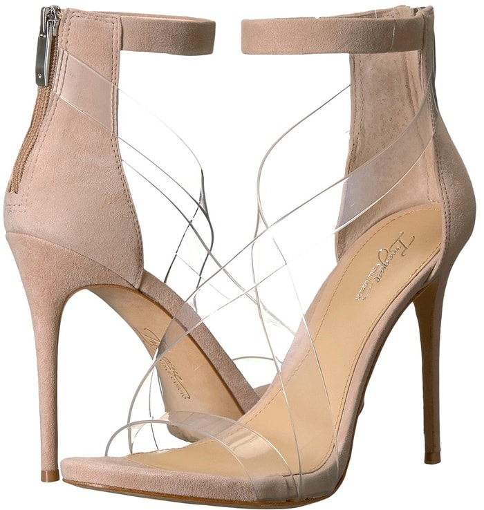 Suede leather upper features clear, crisscrossed strap detail
