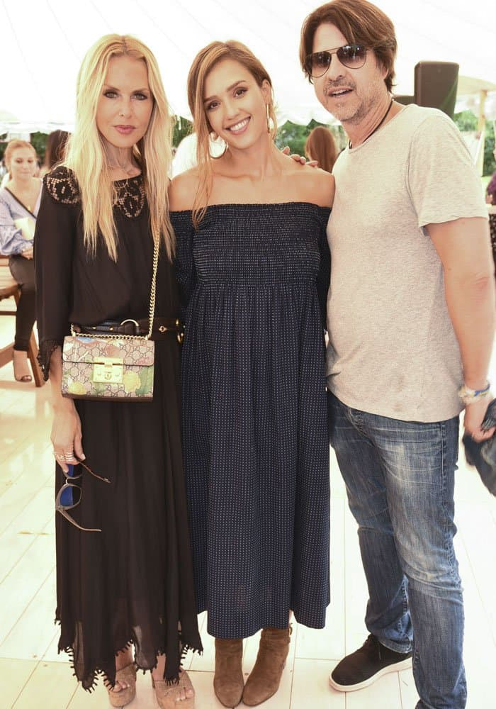 Jessica poses with celebrity stylist friend Rachel Zoe and her husband Rodger Berman