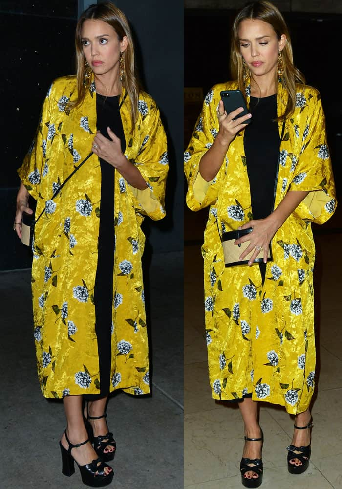 Jessica emerged from the theater in a bright floral kimono from Topshop