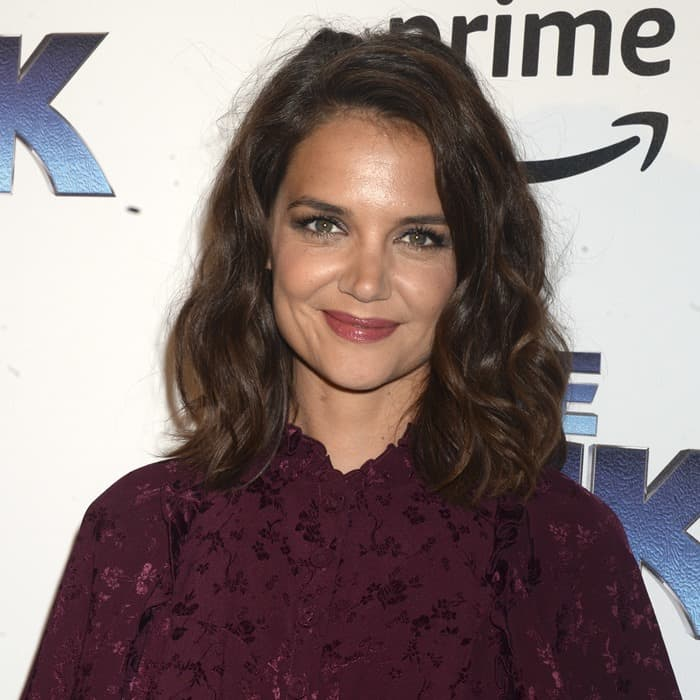 Katie Holmes hit the blue carpet in a ruffle floral silk jacquard dress for 'The Tick' Blue Carpet premiere in New York City on August 17, 2017