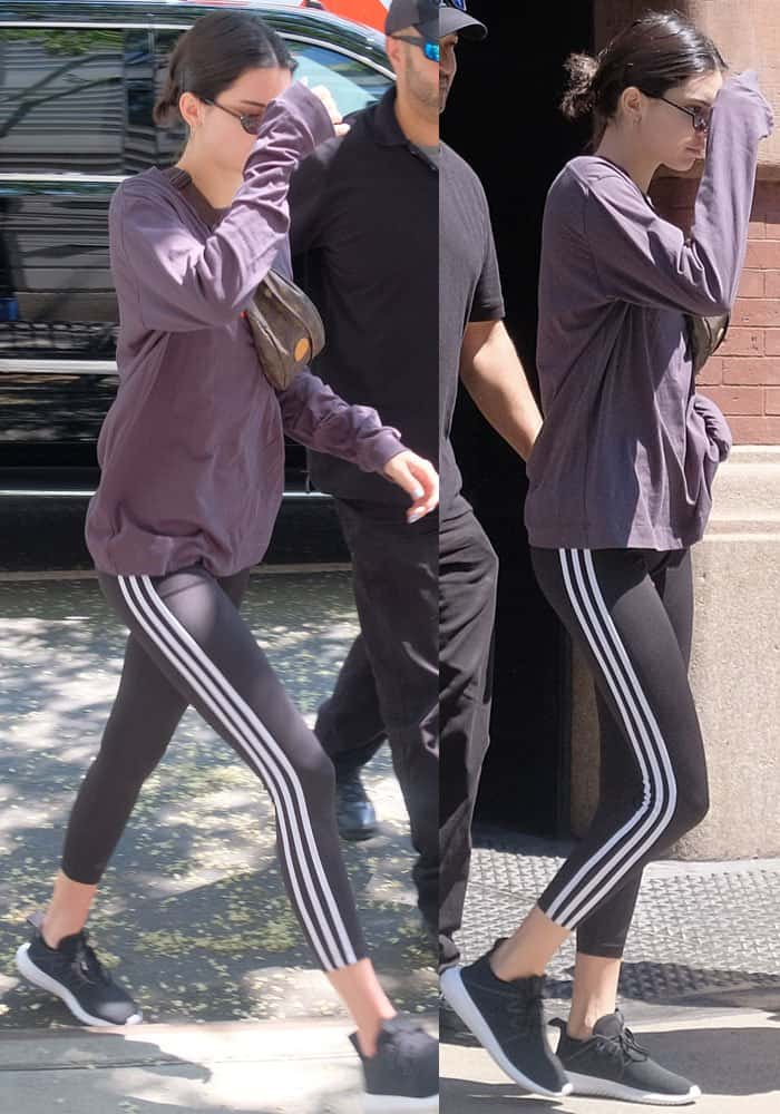 Kendall covered up her Adidas attire with a long sleeved top