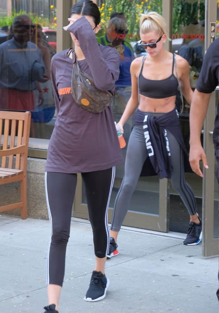 Hailey Baldwin trailed right behind Kendall as they left Gotham Gym