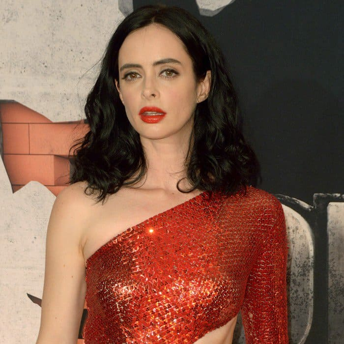 Krysten Ritter stepped out for the premiere of Marvel's 'The Defenders' in a sparkly red Julien Macdonald dress at the Tribeca Performing Arts Center in New York City on July 31, 2017