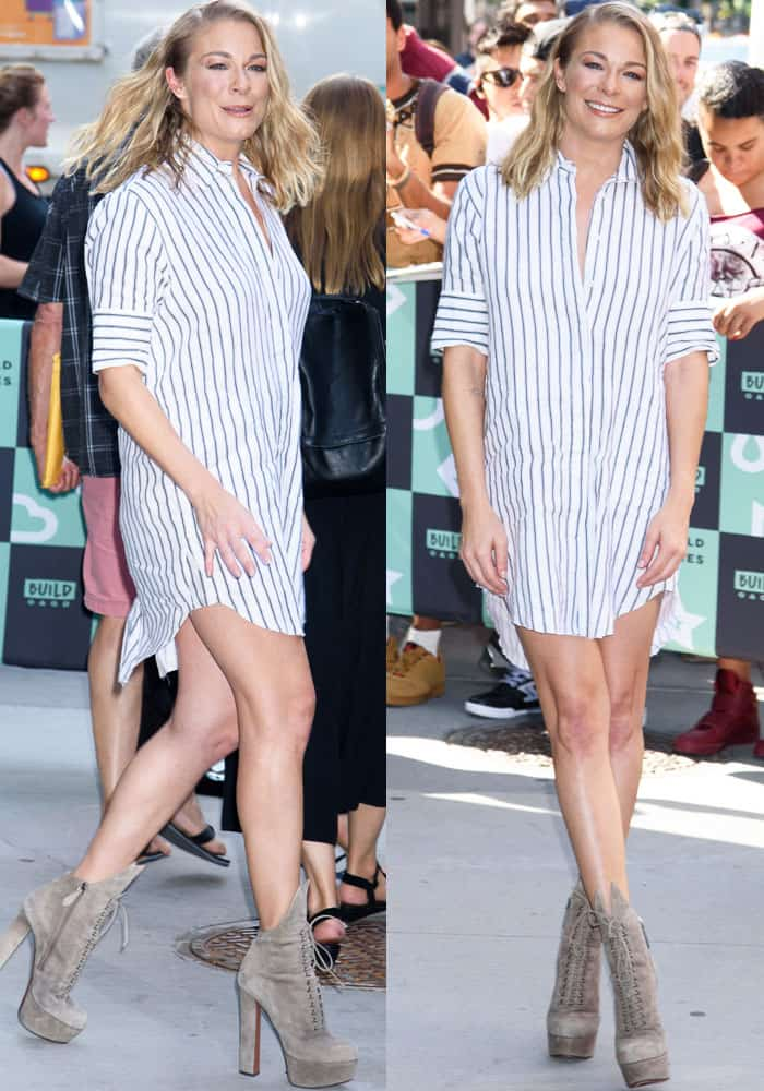 LeAnn shows off her toned legs in a shirt dress