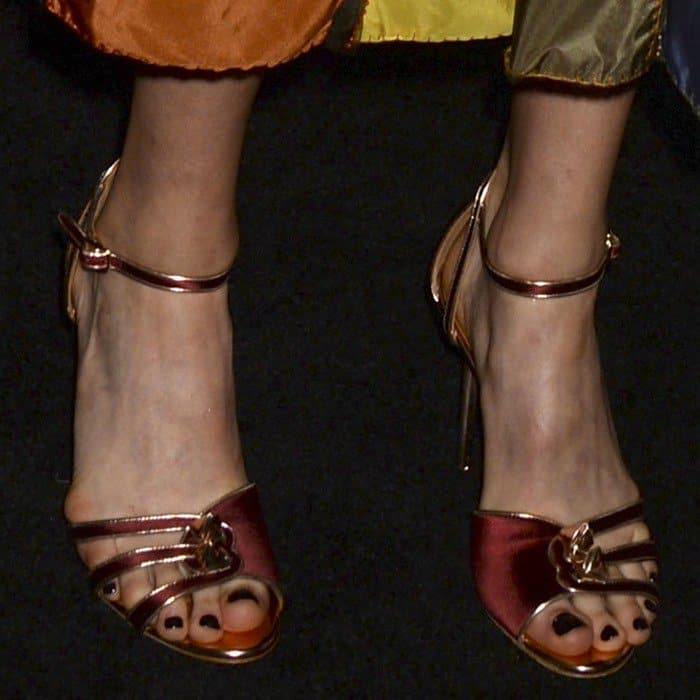 Margaret Qualley showing off her feet and pedicure