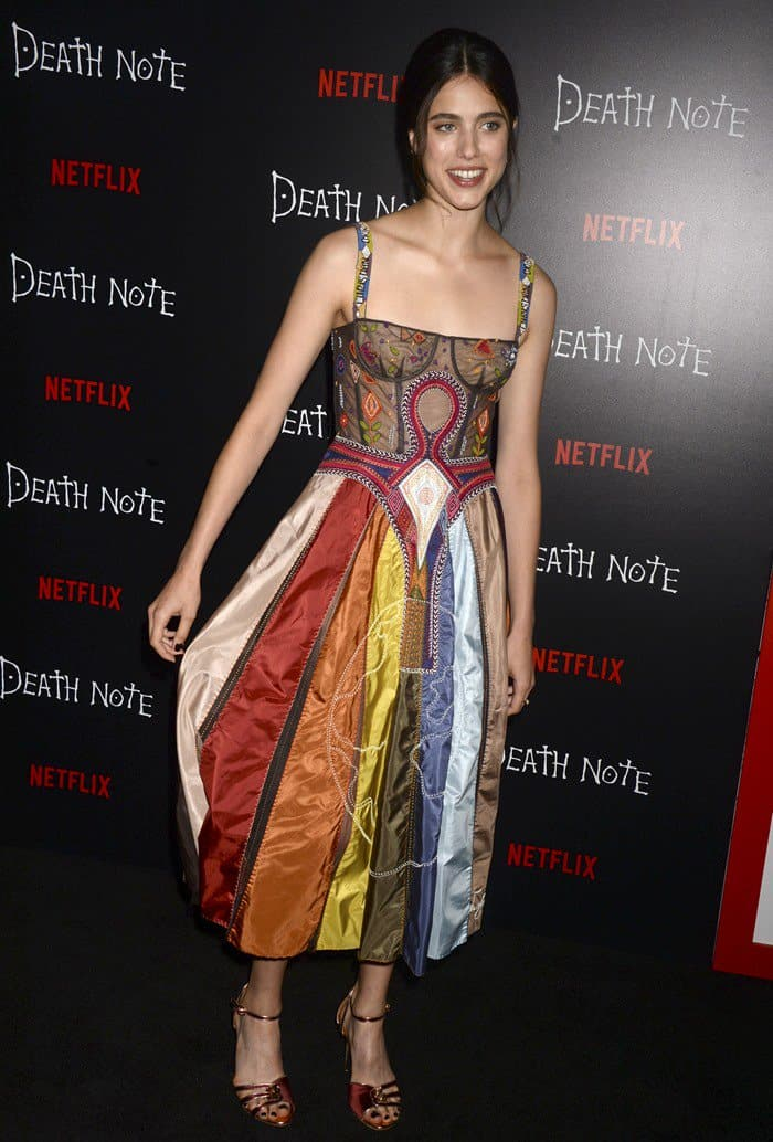 Margaret Qualley wearing a multicolored Christian Dior Resort 2018 bustier dress