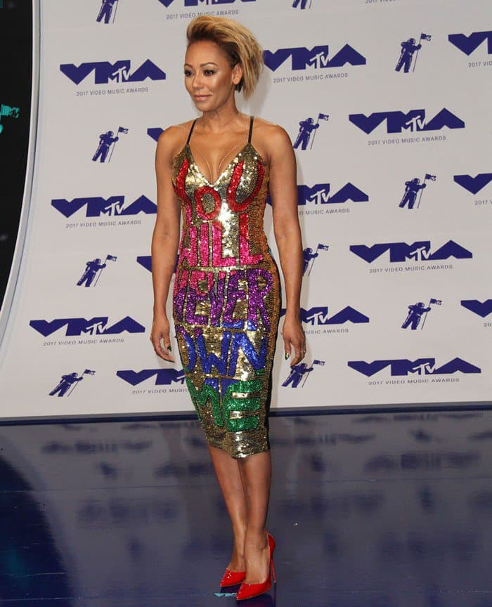 Mel B wearing a Discount Universe 'You Will Never Own Me' sequin dress at the 2017 MTV Video Music Awards held at The Forum in Inglewood, California, on August 27, 2017