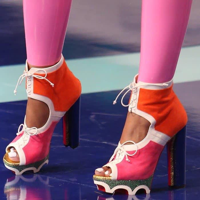 Nicki Minaj rocking 'Lolacrampon' booties from Christian Louboutin