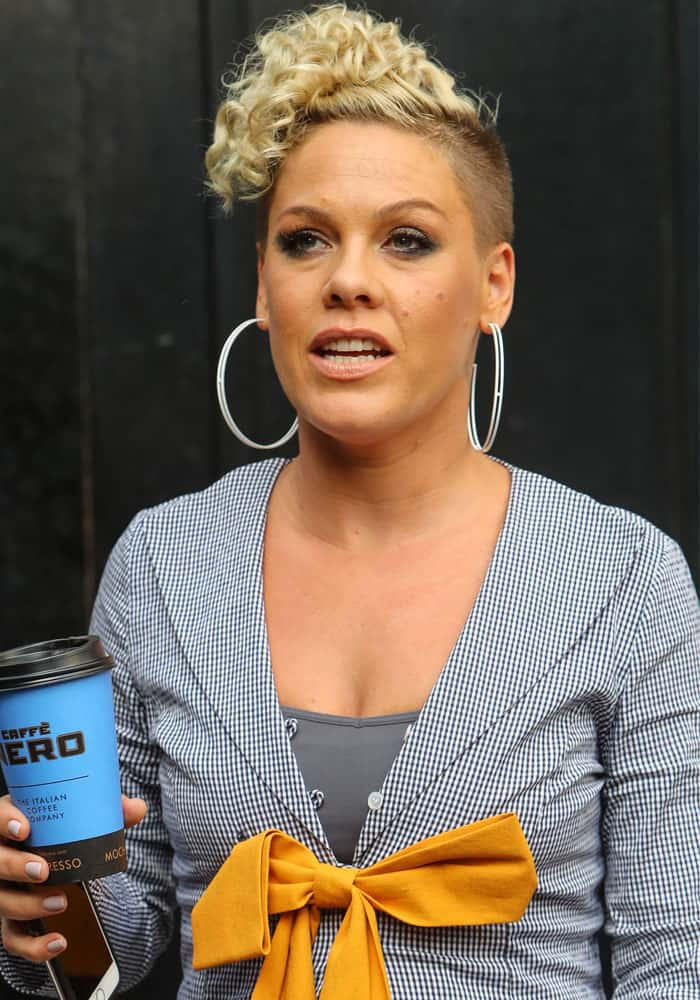 Pink at the Absolute Radio Studios in London on August 16, 2017