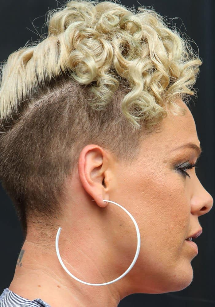 Pink showed off her unique do with a pair of white hoop earrings