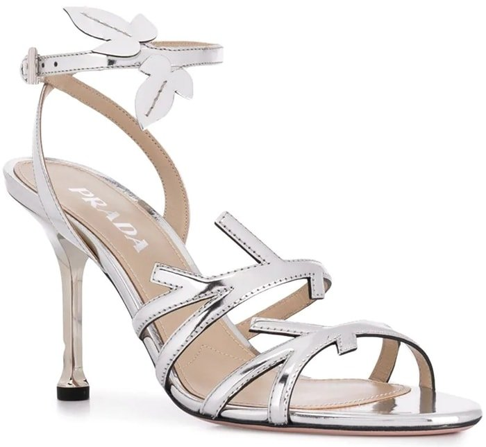 These silver-tone twig branch sandals are crafted from leather and feature an almond toe, a high stiletto heel, a branded insole and an ankle strap with a side buckle fastening