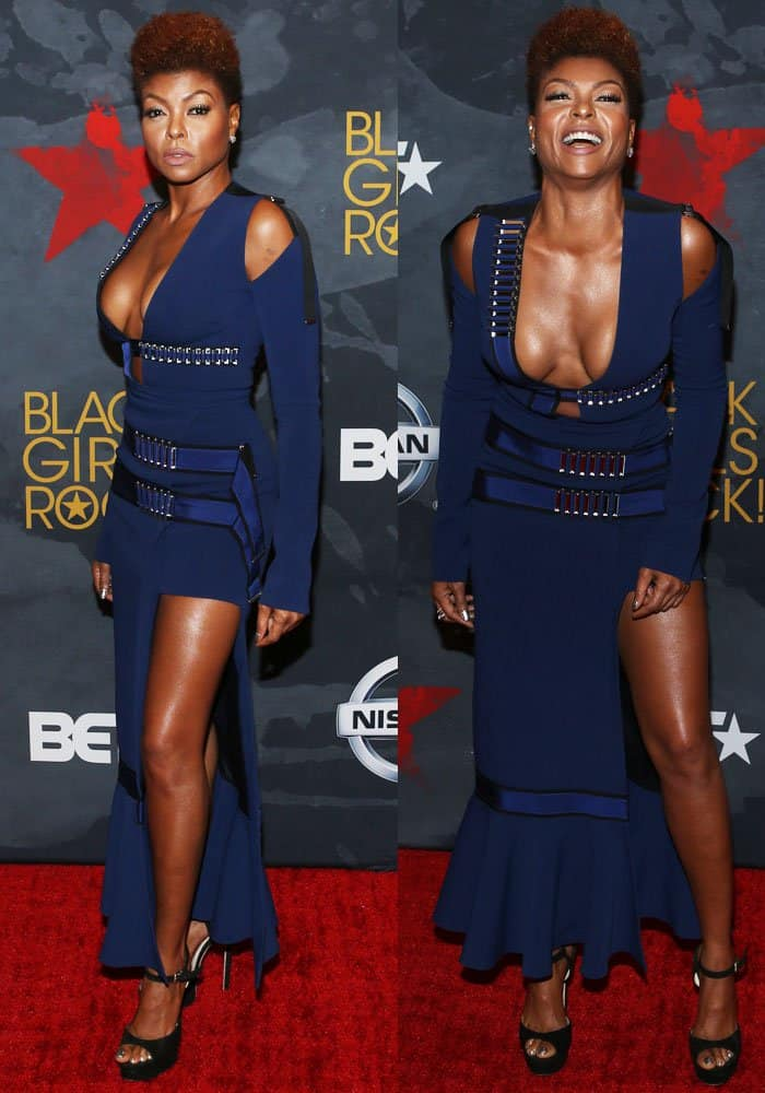 Taraji was photographed in her first David Koma London look for the night