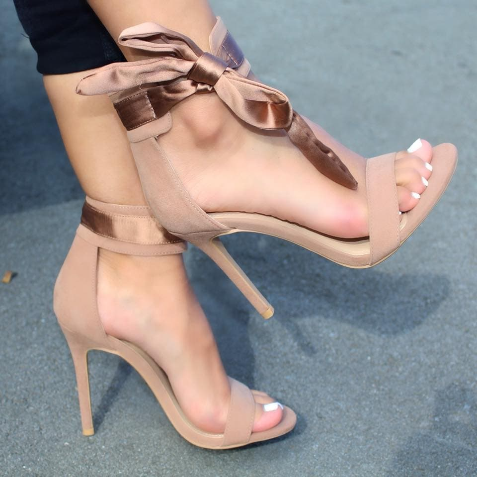 Taupe Bow Side Tie Open Toe Single Sole High Heels