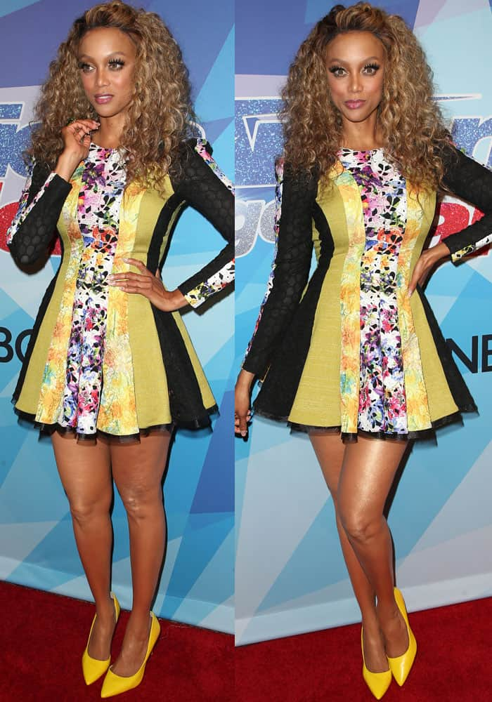 Tyra looked like Crazy Barbie in a multi-print pleated dress by Stello