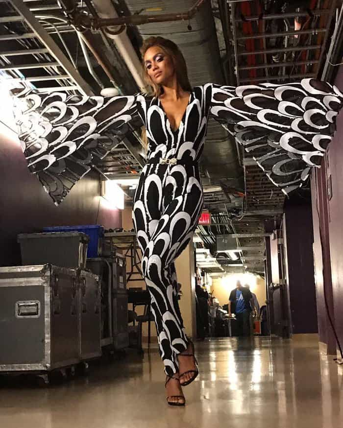 Tyra poses backstage in her Stello jumpsuit