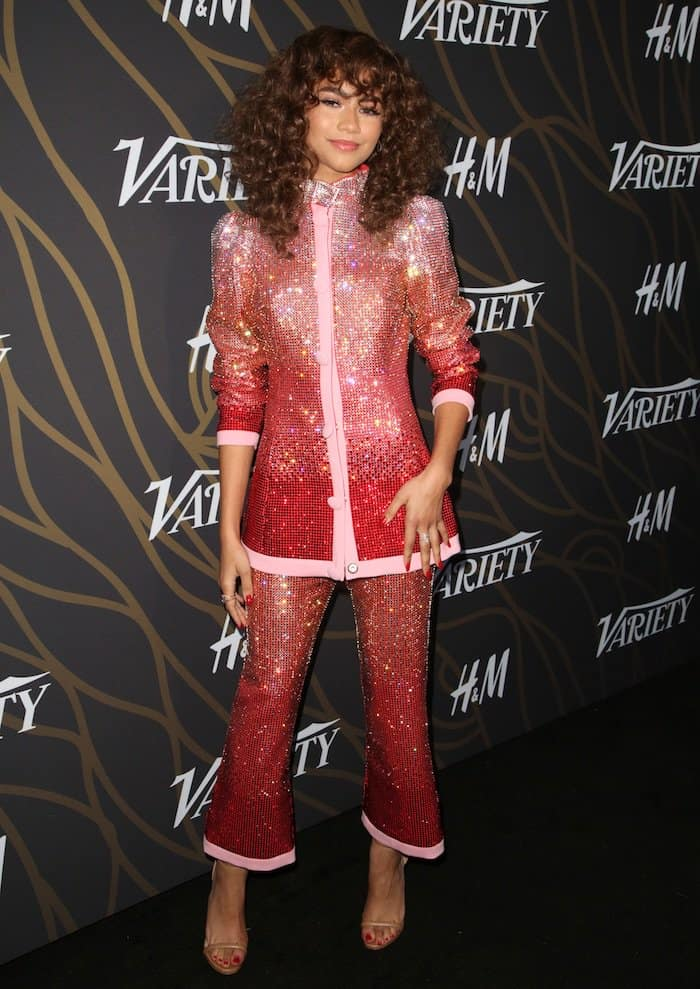Zendaya in a Vivetta sequined suit and nude Ruthie Davis 'Elif' ankle-strap sandals