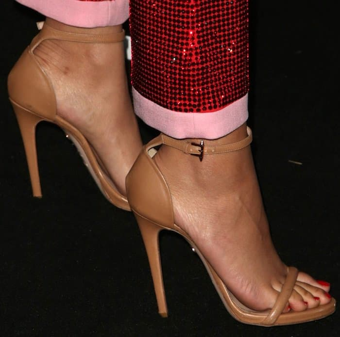 Zendaya chose Ruthie Davis 'Elif' nude ankle-strap sandals to keep the focus on her extravagant pantsuit