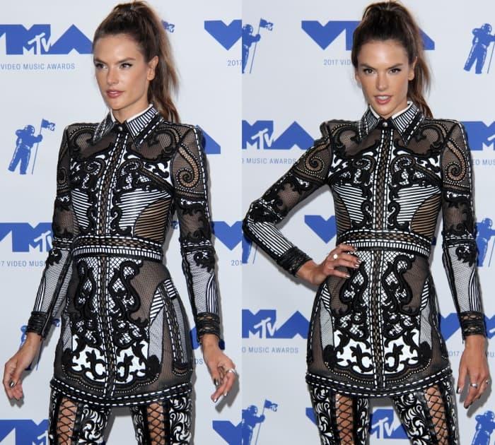 Alessandra Ambrosio wearing a Balmain Resort 2018 ensemble at the 2017 MTV Video Music Awards