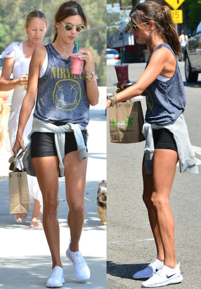 """Alessandra Ambrosio out and about in Beverly Hills in Nike """"Juvenate"""" sneakers"""