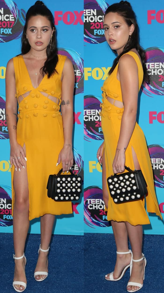 "Bea Miller wearing a Muehleder dress and Schutz ""Enida"" sandals at the 2017 Teen Choice Awards"