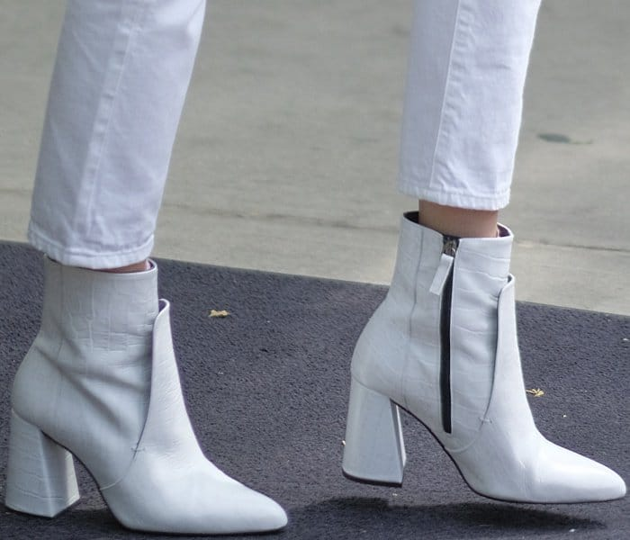 "Bella Hadid wearing Topshop ""Hawk"" croc boots while out and about in NYC"
