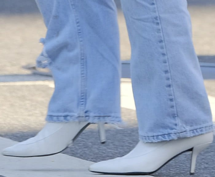 """Bella Hadid wearing Stuart Weitzman """"Clingy"""" booties while out and about in NYC"""