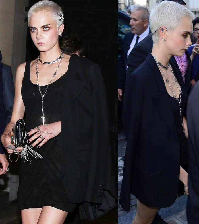Cara Delevingne wearing a semi-sheer LBD and black blazer at the Vogue Paris Foundation dinner