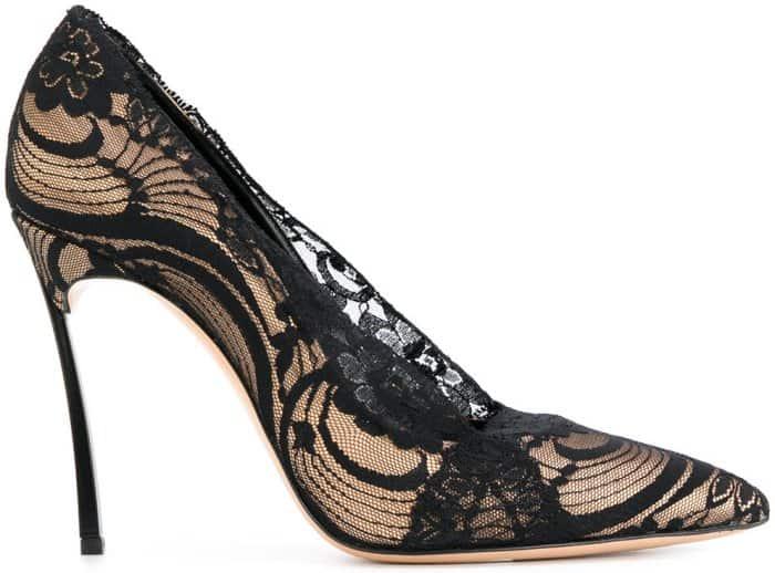 Casadei lace-embellished stiletto pumps