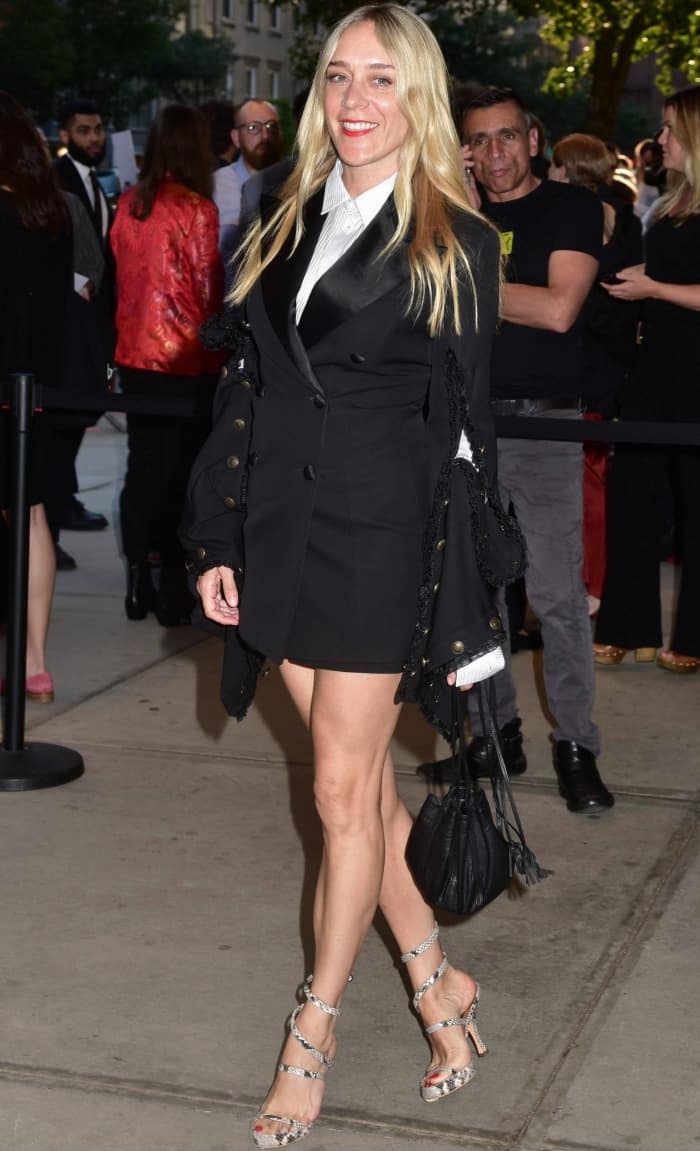 """Chloe Sevigny wearing a black Y/Project fitted blazer dress with snakeskin sandals at the """"Good Time"""" premiere"""