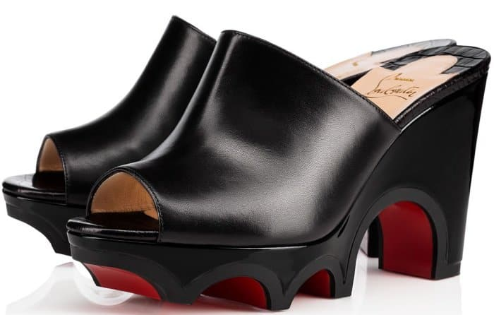 """Christian Louboutin """"Mulacramp"""" mules in black leather"""