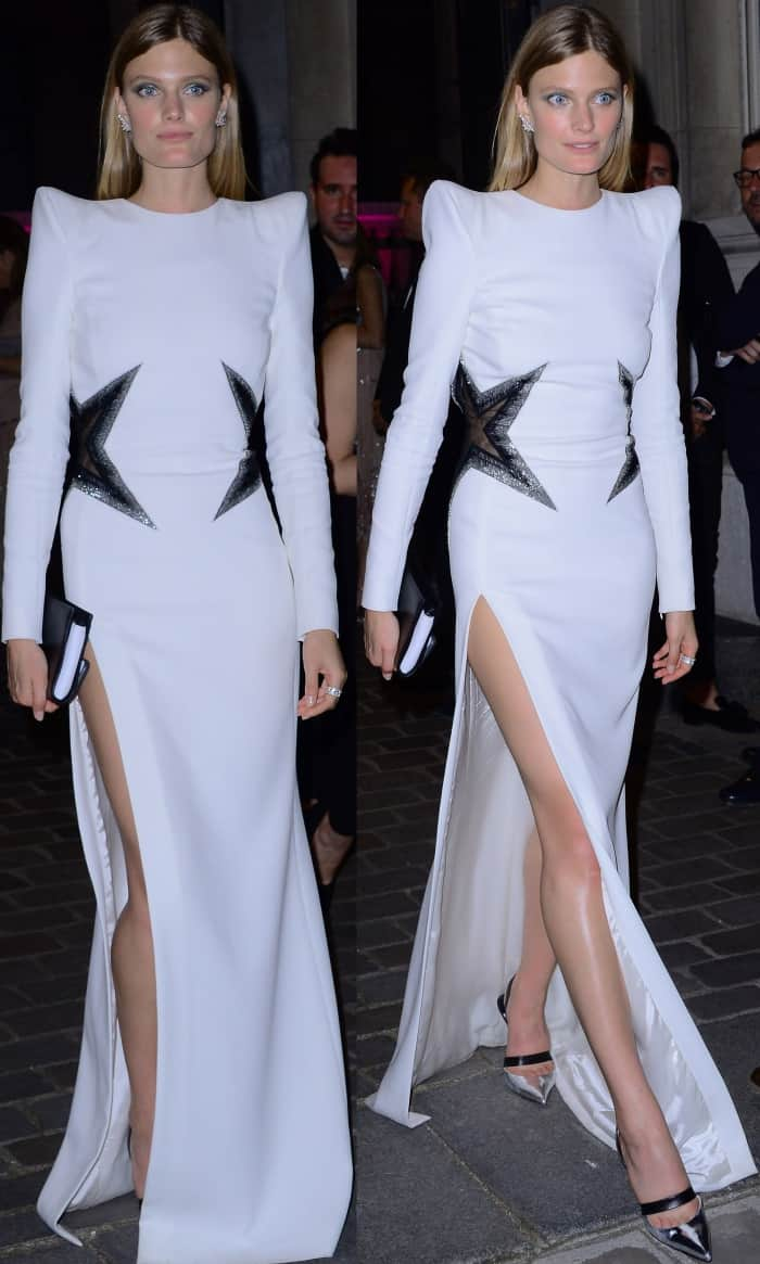 Constance Jablonski wearing a white Thierry Mugler gown and two-tone slingback pumps at the Vogue Paris Foundation dinner