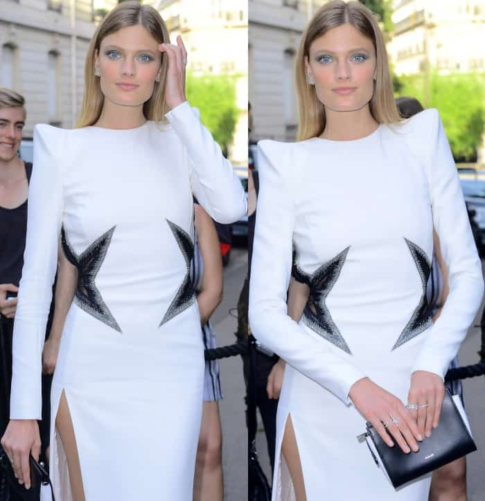Constance Jablonski wearing a white Thierry Mugler gown at the Vogue Paris Foundation dinner