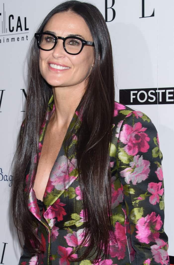 "Demi Moore wearing a Gucci Fall 2017 floral suit at the premiere of ""Blind"" in New York City"
