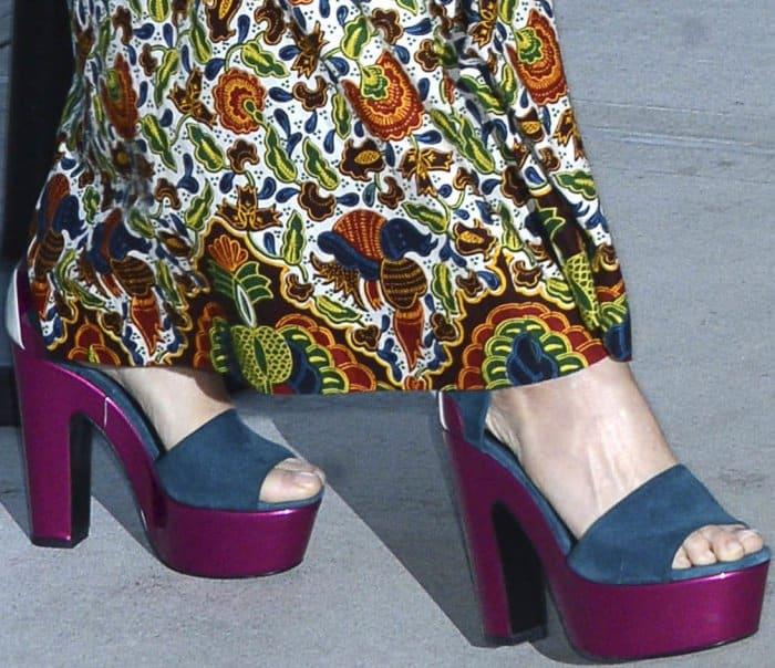 "Demi Moore wearing Nicholas Kirkwood ""Pollypetal"" platform sandals at the New York premiere of ""Good Time"""