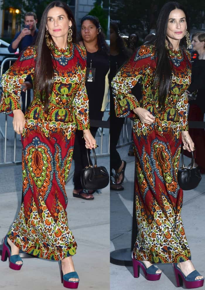 """Demi Moore wearing a bohemian gown and Nicholas Kirkwood """"Pollypetal"""" platform sandals at the New York premiere of """"Good Time"""""""