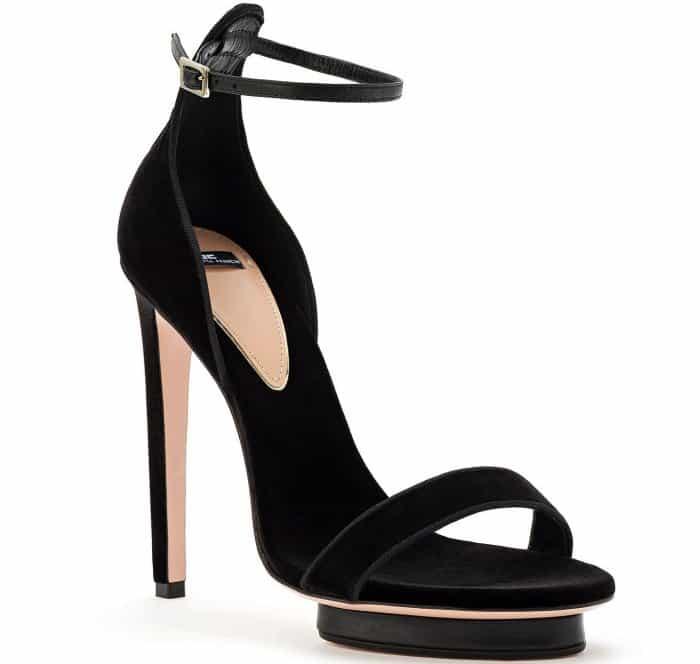 Elisabetta Franchi open-toe sandals in black velvet