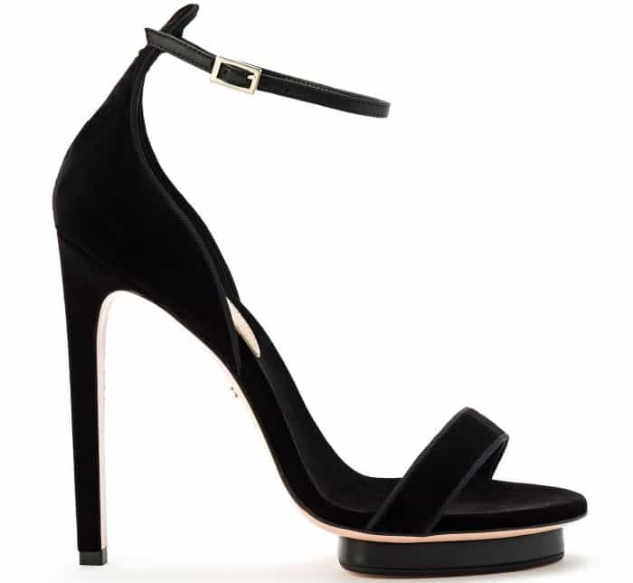 Elisabetta Franchi open-toe sandals in black velvet