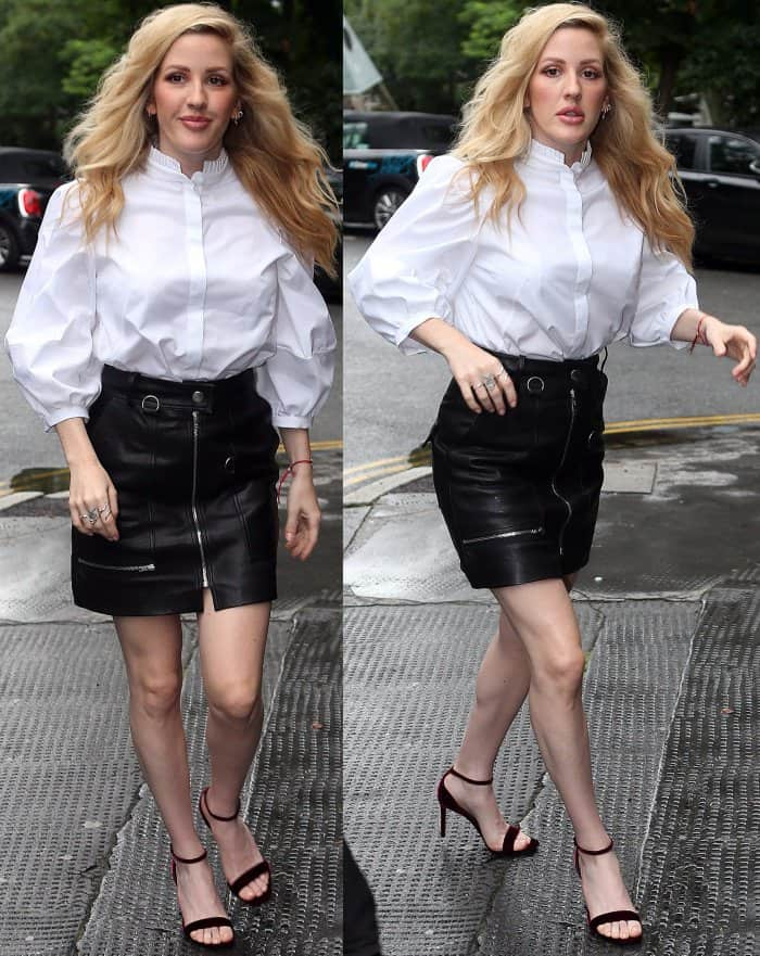 Ellie Goulding wearing an Alexander McQueen blouse, Isabel Marant skirt, and Saint Laurent sandals while out and about in London
