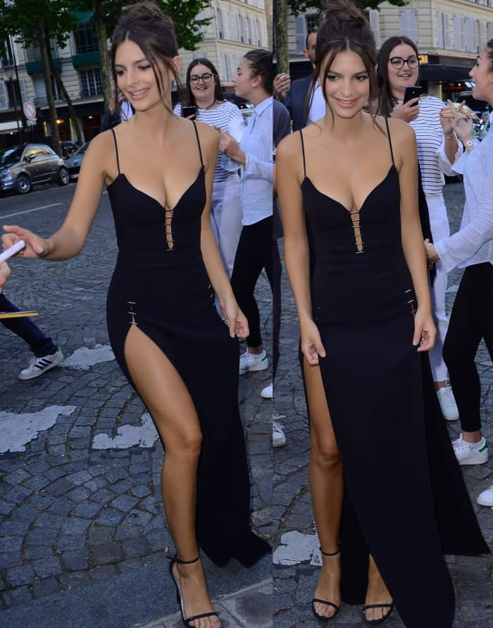 "Emily Ratajkowski wearing a Thierry Mugler Resort 2018 dress and black Stuart Weitzman ""Nudist"" sandals at the Vogue Paris Foundation dinner"