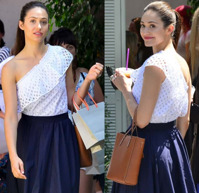 Emmy Rossum wearing a Tory Burch top and M. Martin skirt at Jennifer Klein's 19th Annual Day of Indulgence Party